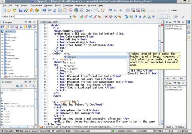 Oxygen XML Editor windows