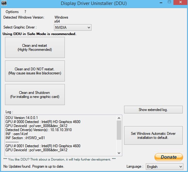 Display Driver Uninstaller windows