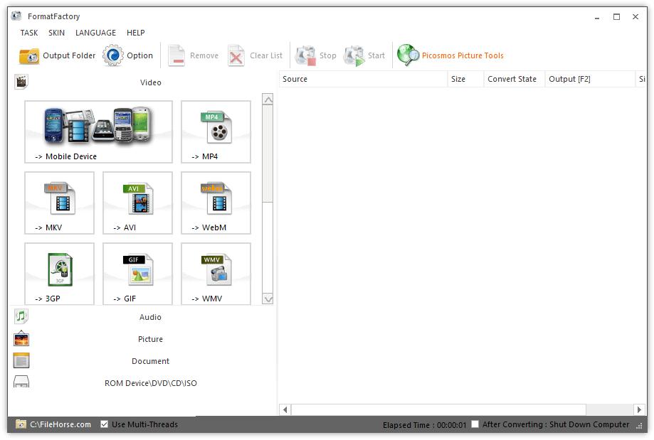 FormatFactory windows