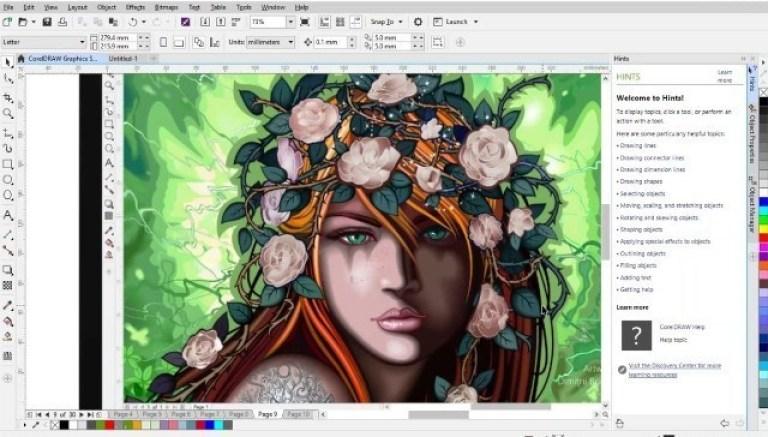Corel Draw Graphics Suite windows