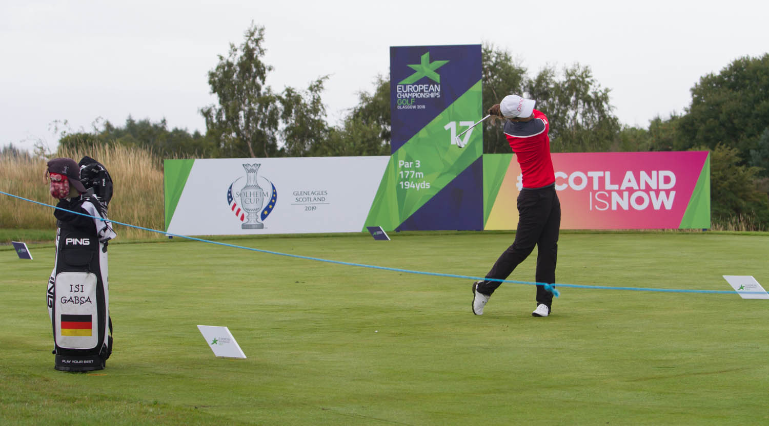 Golfer teeing off at the 2018 European Championships