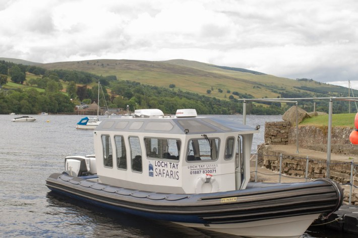 Loch Tay Safaris, Kenmore, Boat Trip, Perthshire. Boat moored at Loch Tay