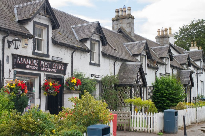Kenmore Post office, Perthshire.  A row of black and white cottages in Perthshire