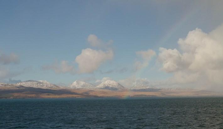 Paps of Jura, rainbow, Scotland