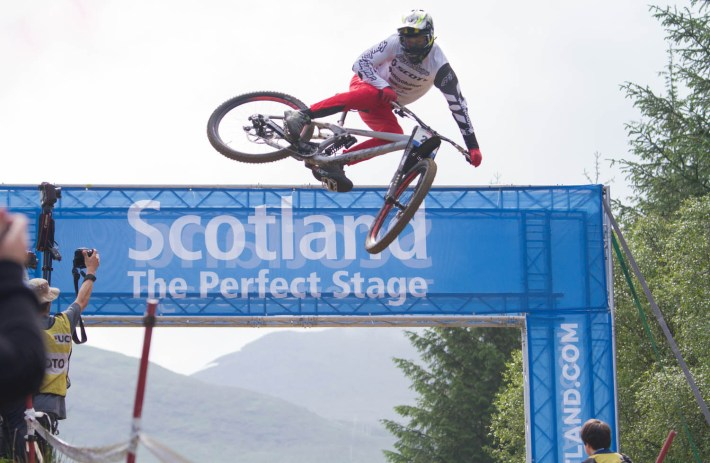 World Mountain Bike Championships. A cyclist jumping off a ramp