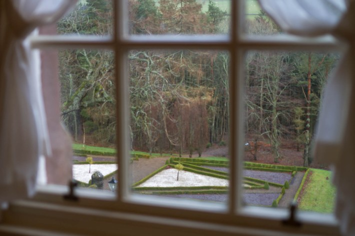 View from the bedroom at Cringletie House