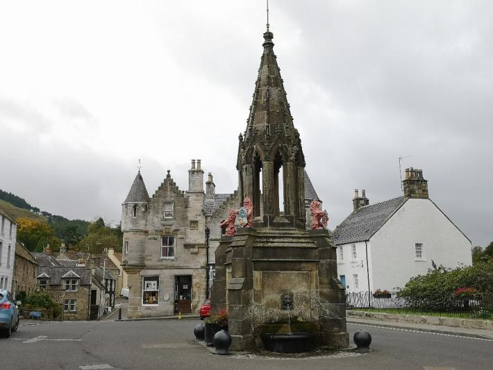The Bruce Fountain in the village of Falkland. An ornate fountain in the village square