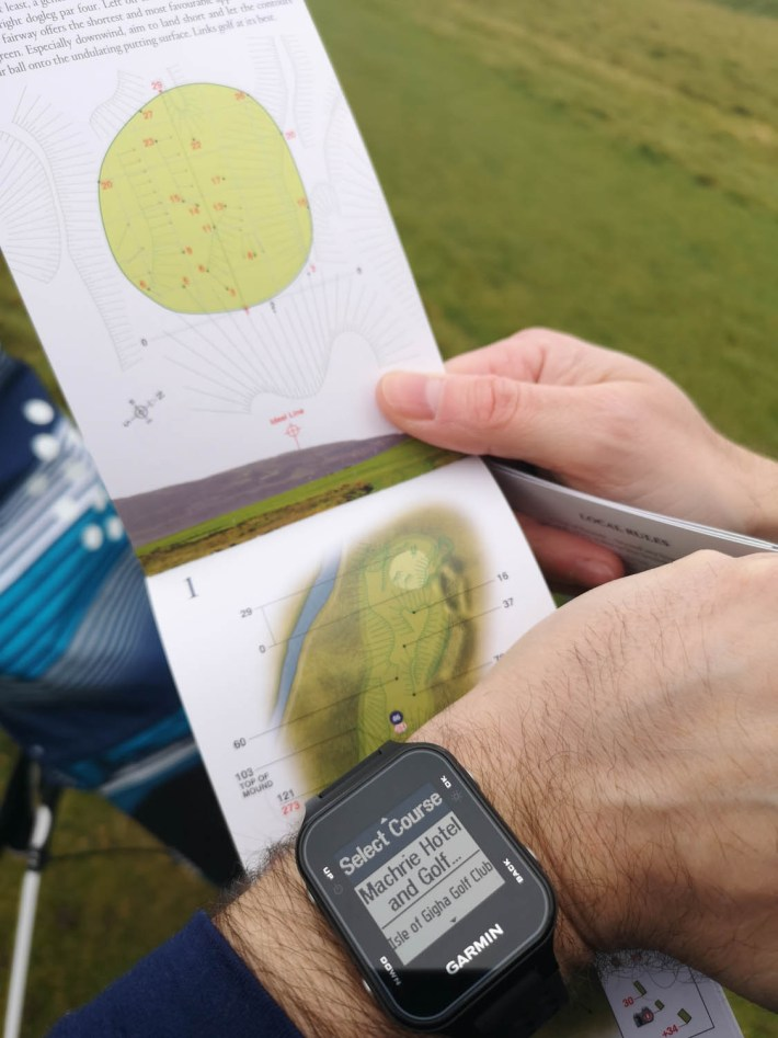 Garmin Golf watch at the Machrie Links Golf course