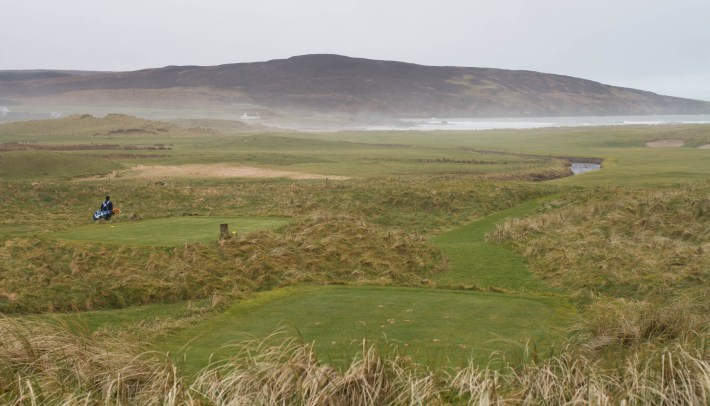 Golfer on the Machrie links golf course