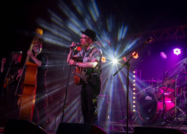 Performers on stage at Belladrum Festival, Scotland