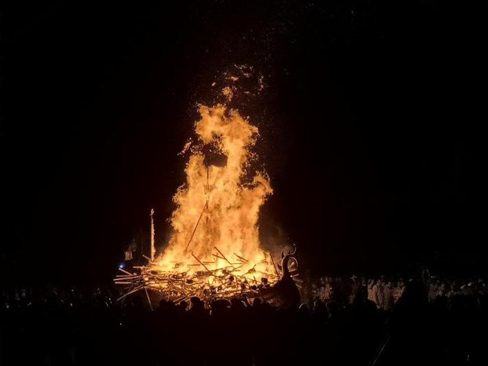 Up Helly Aa, Shetland. Burning of the galley