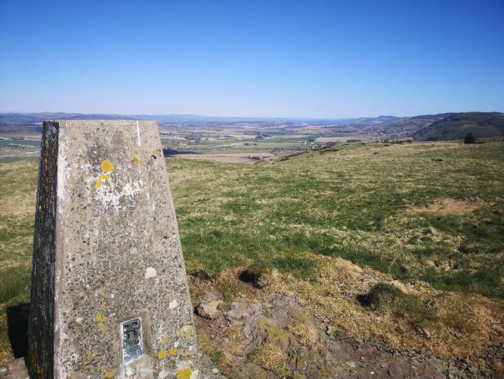 Trig point in Perthshire with views of the Lomond Hills - little walks from home during lockdown