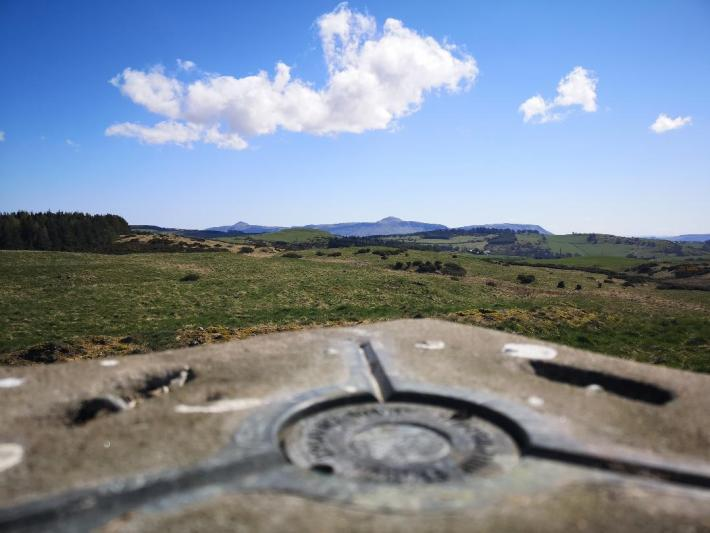 Trig point in Perthshire with a view of the Lomond Hills - little walks from home during lockdown