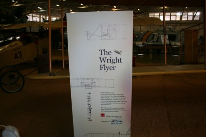 The museum started with a mock up of the Wright Brothers Flyer and came real close to the present.  On this adventure we will be at Kitty Hawk and I hope to include a photo of whatever memorial to the Wright Brothers might be there.