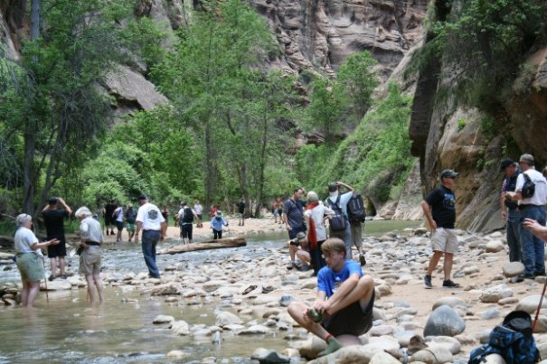 """The end of the walkway for us and the place where the real hikers walk out of the """"Narrows"""", 16 miles and your path is the Virgin River.  Sometimes you walk, sometimes you swim."""
