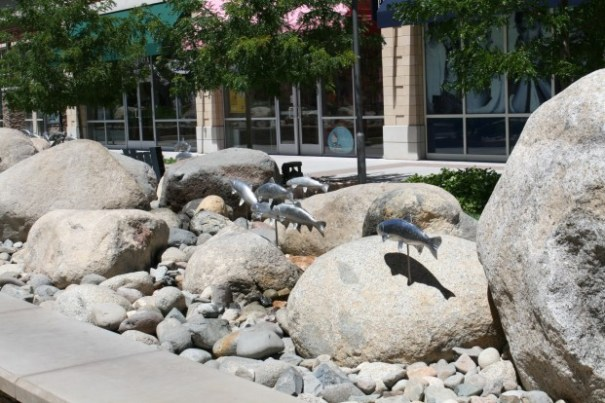 Four of five of these sculpture, rock, water features along the way, Water would come gushing up near the fish statuary.