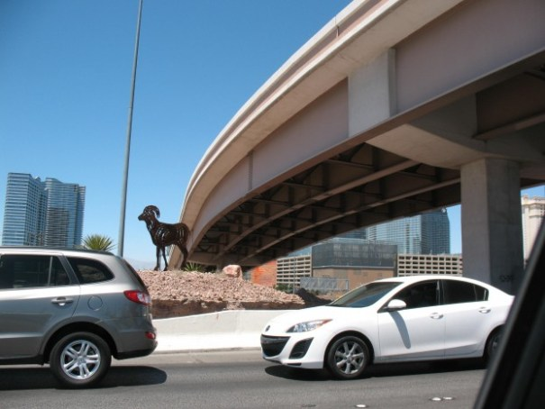 Edie really likes the metal silhouettes of sheep and horses in and around Las Vegas.