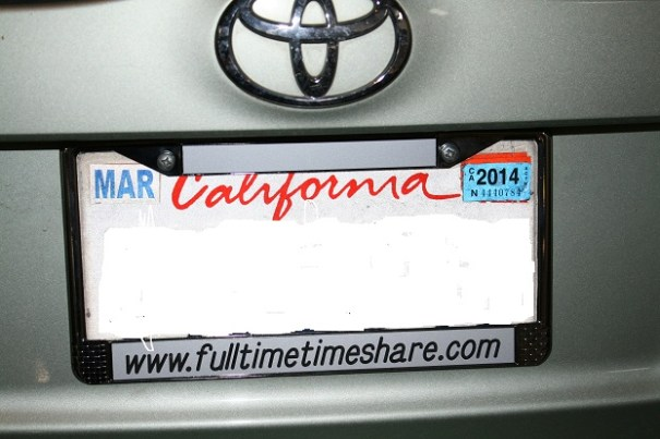 Our new license plate holder, as promised.