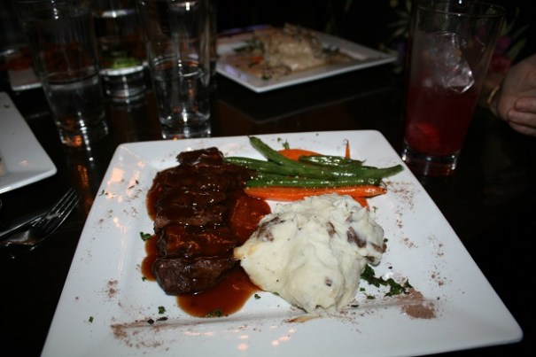 Edie's Flat Iron Steak, with mashed potatoes and vegetables.
