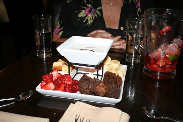 The four of us barely ate half.  We were so stuffed and everything was so good, but we had to stop.  White Chocolate Fondue with strawberries, bananas, pound cake and brownies.