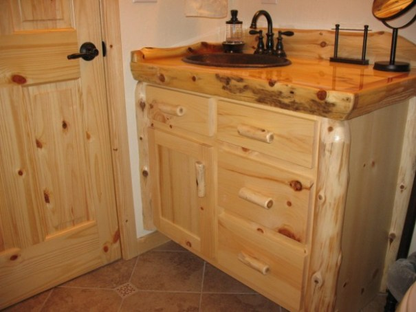 Bathroom vanity front.  I really liked the knotty pine everywhere.