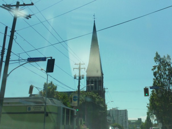 There are many dramatic church steeples in Victoria.