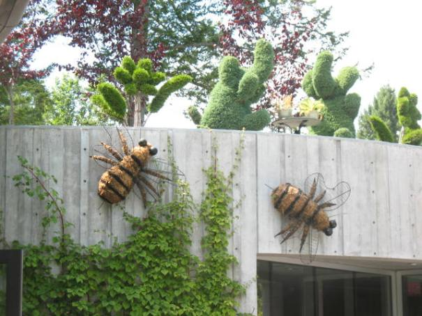 Homage to the insects, topiary bees.