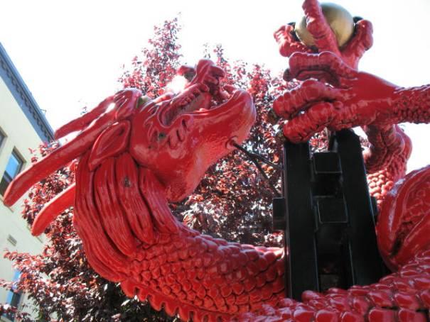 Dragon clutching gold.