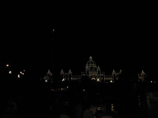 BC Parliament at night.