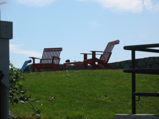 Our lunch spot.  Metal Adirondack chairs with a table between.