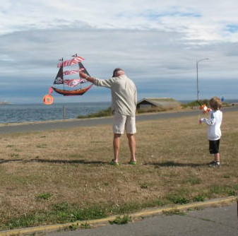 Grandpa with a great kite.