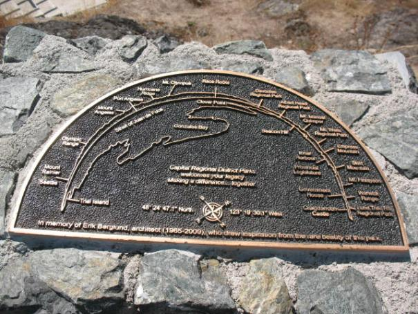 Brass marker that shows the compass directions and surrounding landmarks.