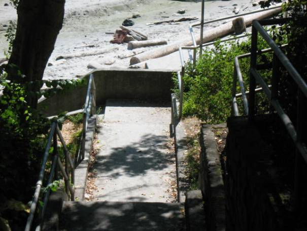 Stairs leading down to the beach.