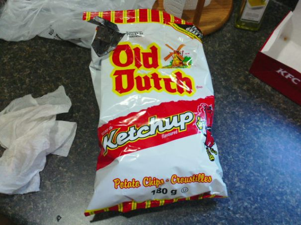 Old Dutch Ketchup flavored potato chips, Aaron and Arla's favorite.