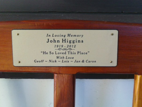 Placard on memorial bench at Saltair Pub.