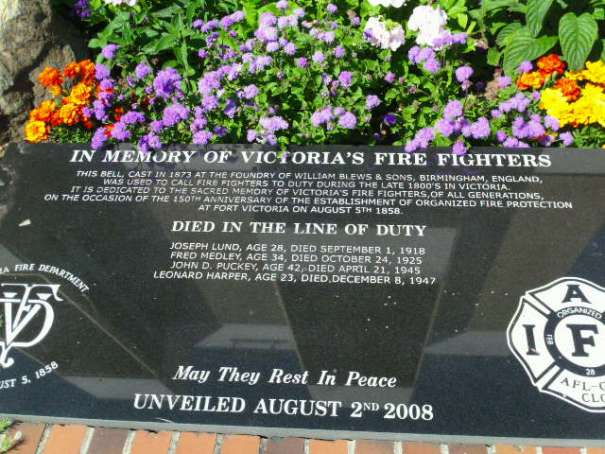 Memorial dedicated to lost Fire Fighters.