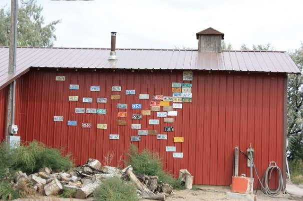 Barn art, license plates from around the US placed where they would be on a map of the US.