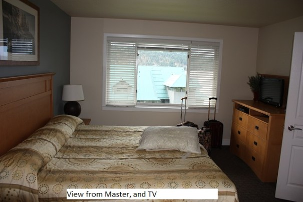 View and TV in master.  If you walk to the window and look to the left you see the lake.