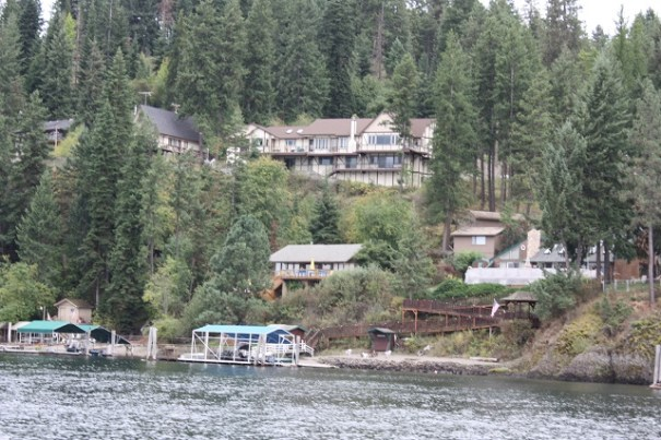 Homes on the lake shore.