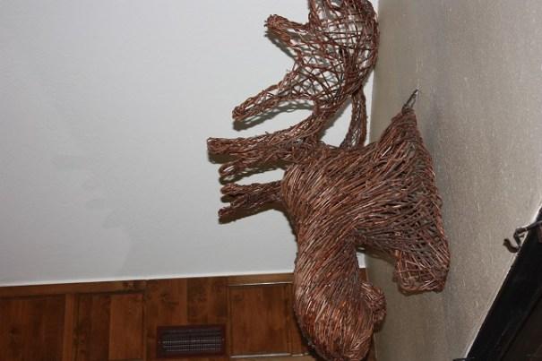 Edie's favorite moose head hanging on a wall.
