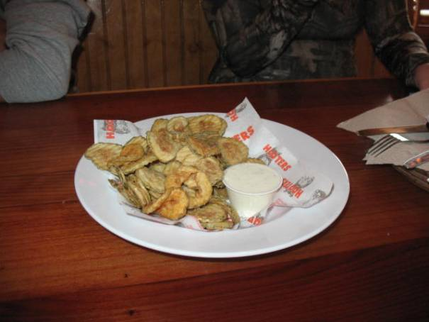 Fried pickles, pretty good with a touch of Ranch dressing.