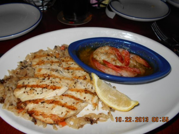 Edie's Chicken and shrimp scampi.