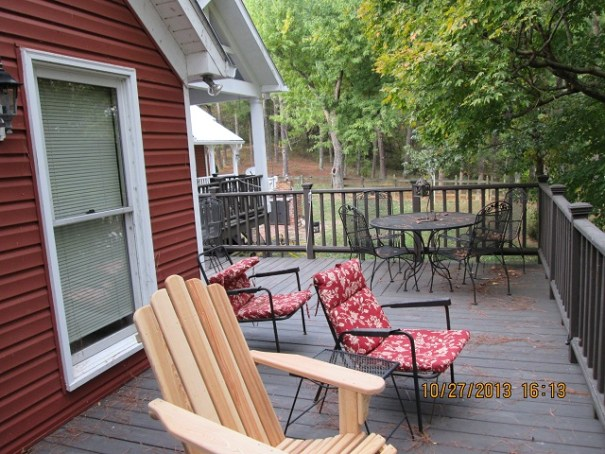There is a big deck on the back of the house overlooking one of two private lakes.