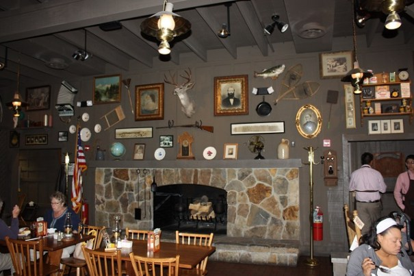 Cracker Barrel fireplace.