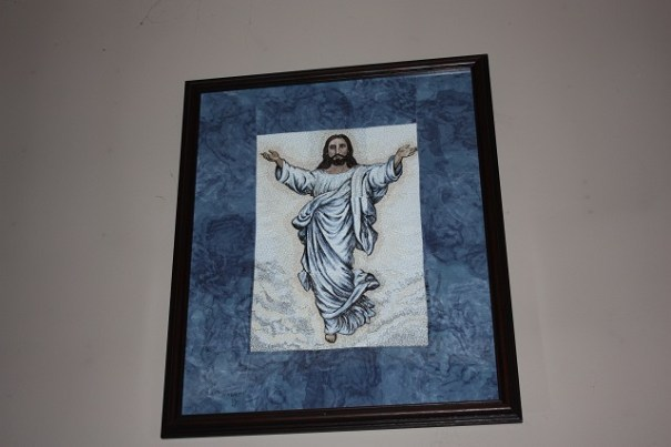 Aunt Gale's 9 panel embroidery of Jesus.