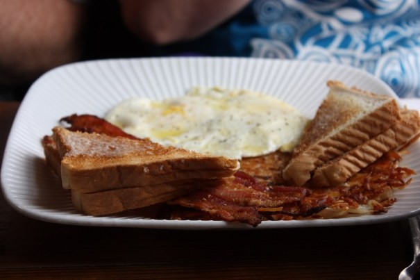 Edie opted for breakfast, eggs hard, bacon, hashbrowns and bread.