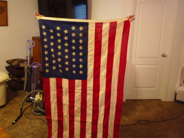 Old flag with 48 stars.
