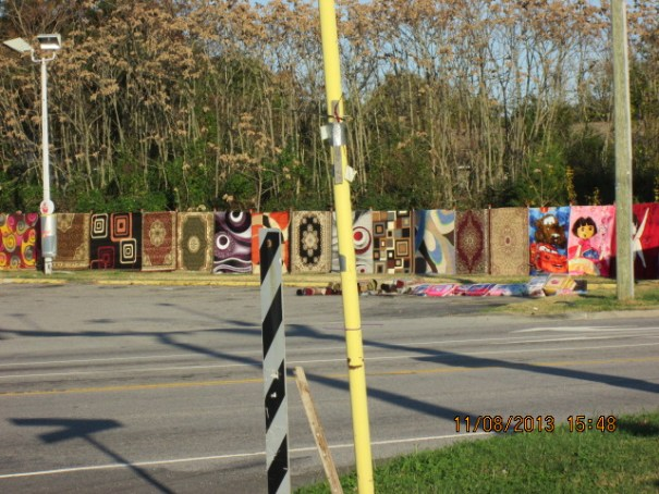 Rugs for sale at a Valero gas station off I-85 near Richmond.