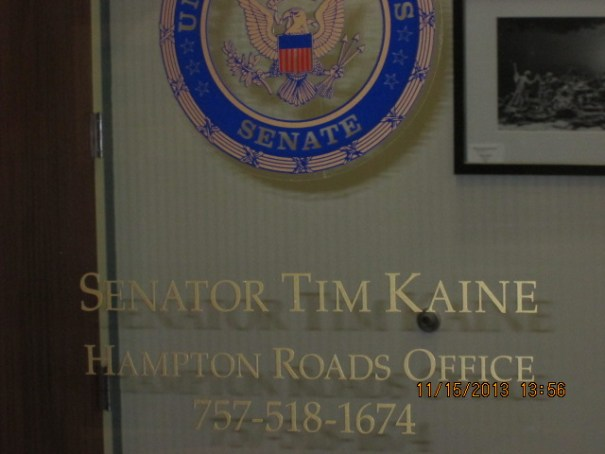 We went pass Senator Kaine's office to and from the parking garage.  It was our footpath marker.