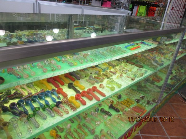 Glass pipes in every store.